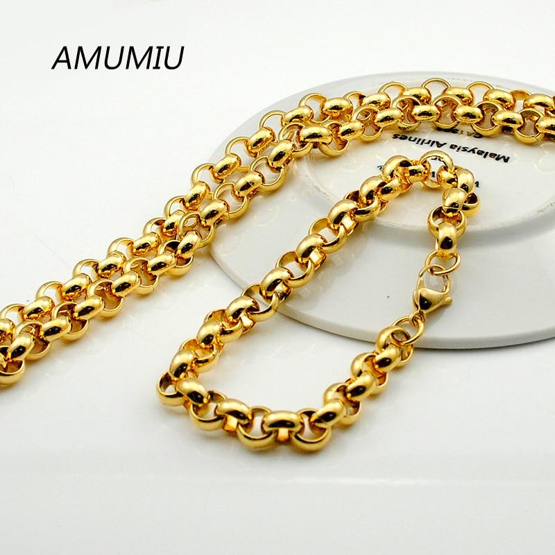 AMUMIU Mens Gold Color Chain Stainless Steel Necklace Bracelet set fashion necklaces women Punk Party Accessories HZTZ088