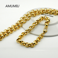 AMUMIU Mens Gold Plated Chain Stainless Steel Necklace Bracelet Set Fashion Necklaces Women Punk Party Accessories