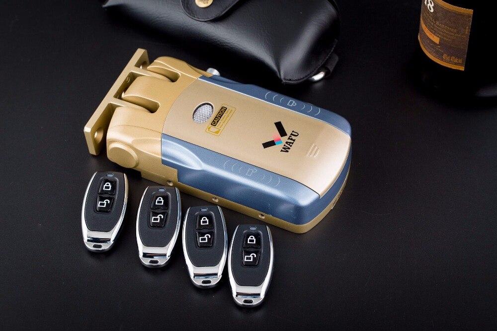 HTB1b y4k3vD8KJjSsplq6yIEFXaz Wafu 010 Wireless Electronic Door Lock Keyless Invisible Intelligent Lock With Touch Locked&Unlock Button 4 Remote Control Keys