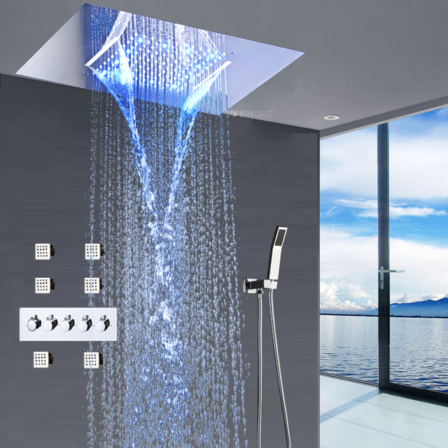 modern shower faucets set ceiling recessed led rain shower set waterfall massage shower panel. Black Bedroom Furniture Sets. Home Design Ideas