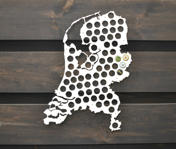 Beer cap map Holland Gift for Him Bottle cap map Boyfriend gift Father gift Coworker gift Gift for men Wall decor VALENTINES Gi
