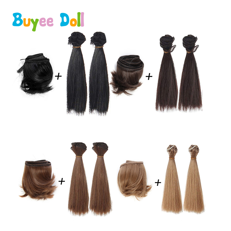 1 Set 5cm Fringe and 2pcs of Straight Wig for BJD Doll DIY Material Thickening Hair Multicolor 1/3 1/4 1/6 Accessories
