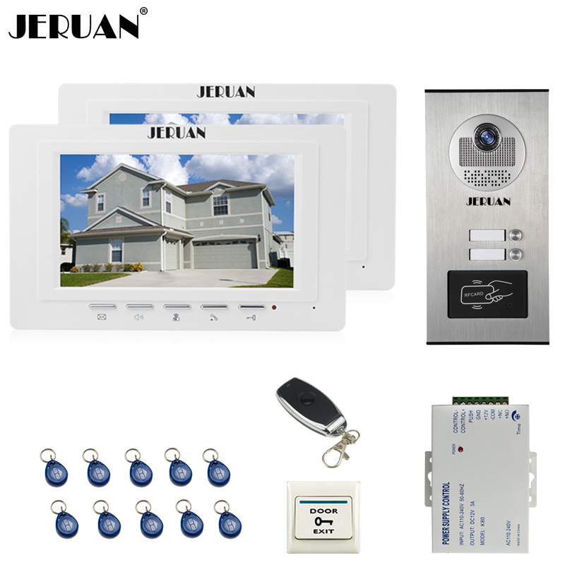 JERUAN  7 inch Color Video Doorbell Door phone Intercom System kit 2 Monitor + 1 HD RFID Access Camera 2 apartments jeruan new 7 inch touch key color video intercom entry door phone system rfid access doorbell camera 1 monitor in stock