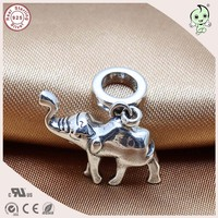 Popular Sterling Silver Animal Design Jewelry 925 Solid Silver Cute Elephant Pendant Charm Fitting European Famous