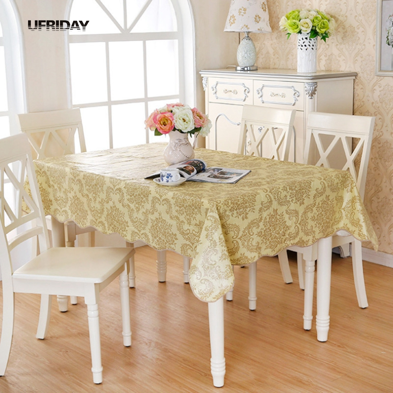 UFRIDAY Glod Pastoral Floral PVC Tablelcoth Waterproof Wheat Plastic Modern Hotel Household Table Cloth Soft Flannel