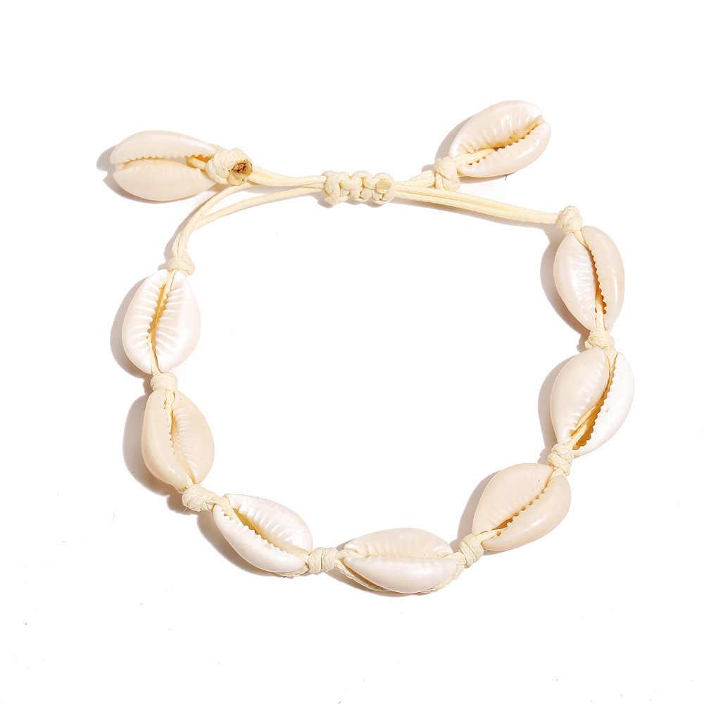 S212 ボヘミアシェル女性手作り調節可能なカラフルなロープ足自由奔放に生きるジュエリー脚ブレスレット accesorios デ verano に