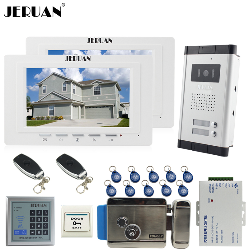 JERUAN Apartment 7`` Video Door Phone Intercom System kit 2 Monitor 1 HD Camera RFID Access Controller Electronic control lock noise cancelling earphone stereo earbuds reflective fiber cloth line headset music headphones for iphone mobile phone mp3 mp4 page 3