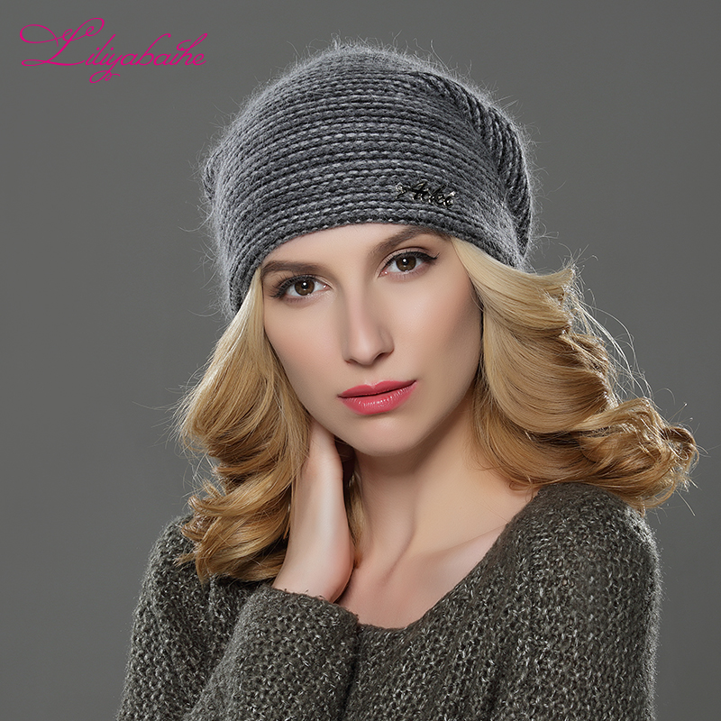 LILIYABAIHE NEW Style Women Beanies Winter Hat Knitted Wool Angora Striped Hats Exquisite Letter  Decoration Cap Double Warm Hat