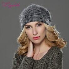 Liliyabaihe novo estilo feminino gorros inverno chapéu de malha lã angora listrado chapéus requintado carta decoração boné duplo chapéu quente