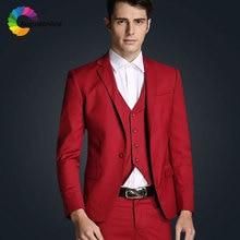Burgundy Men Suits Groom Wedding Suit Groomsmen Tuxedo 3 Piece Jacket Pants Vest Best Man Blazer Costume Homme Ternos