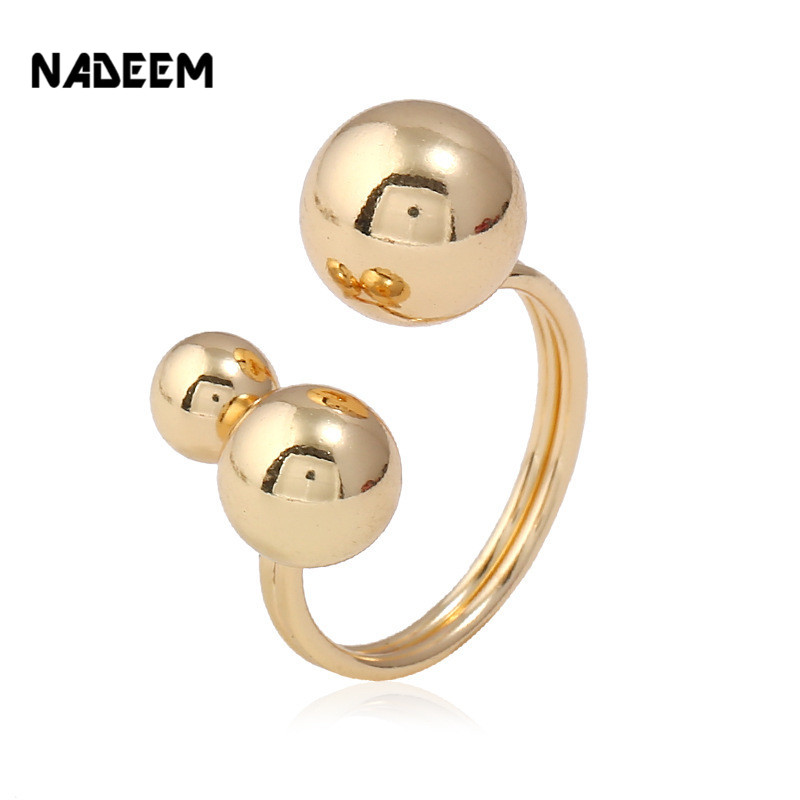NADEEM Drop Shipping Delicate Gold Color 3 Ball Finger Rings Geometric Rock Midi Finger Ring Jewelry Female Anel Accessories