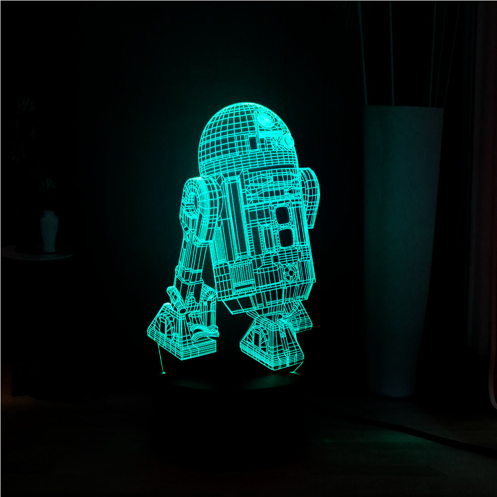 2019 New 3D 7 Color Change Star Wars Warship R2D2 LED Touch Remote Night Light Home Novel Decoration Baby Sleep Table Light Gift image