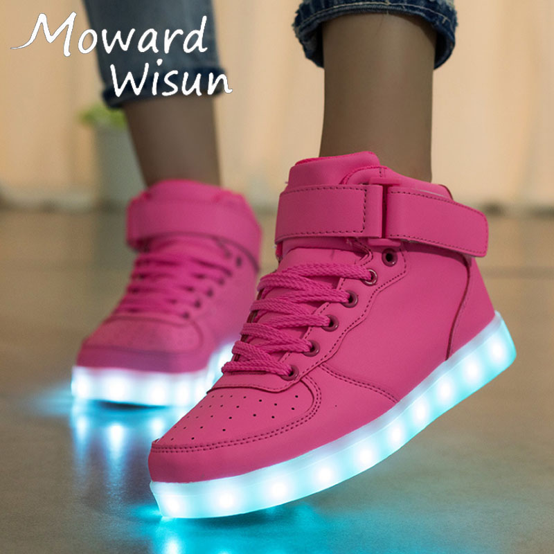 Size 25-40 USB Glowing Luminous Sneakers with Light Up Sole Kids Shoes Trainer Feminino LED Slippers Blue White Black Pink RedSize 25-40 USB Glowing Luminous Sneakers with Light Up Sole Kids Shoes Trainer Feminino LED Slippers Blue White Black Pink Red