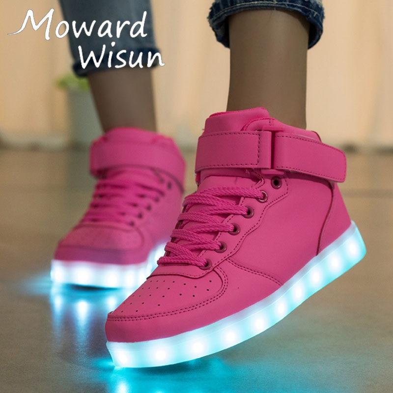 LED Flashing Light up Shoes  Men Women Sneakers Trainers BLACK High-Top Hi002