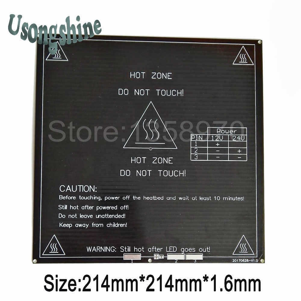 все цены на 1pcs PCB Black Hot Bed for 3D printer Mk2B Heat Bed Plate 12V 24V dual power supply 214x214mm on the Linear Guides no wire онлайн