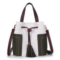 Fashion Woman Shoulder Bag Leather Elegant Bucket Vintage High Quality Ladies Crossbody Bags Patchwork Popular Handbag