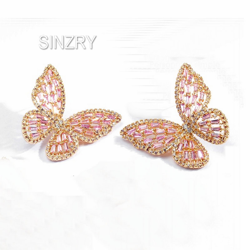 SINZRY creative design Pink Cubic Zirconia butterfly stud Earrings elegant Korean style sweety earrings for women купить недорого в Москве