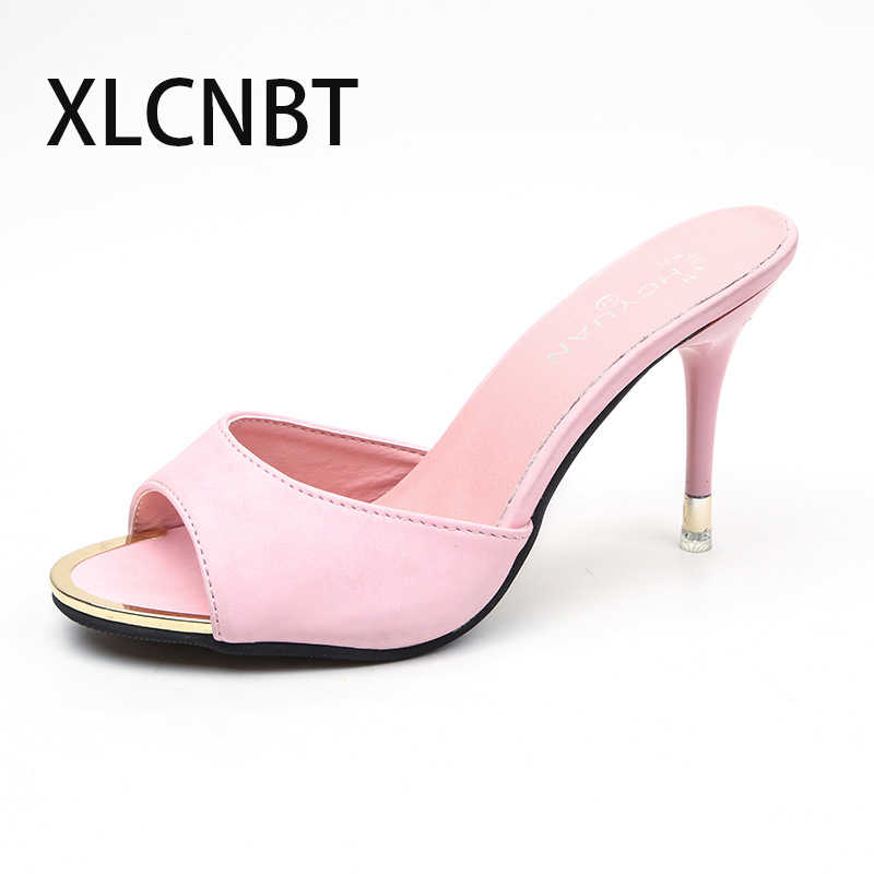 2b86e75cb00 ... thinck Heel slipper women shoes sexy black thick bottom open toe high  ladies beautiful slides pep ...