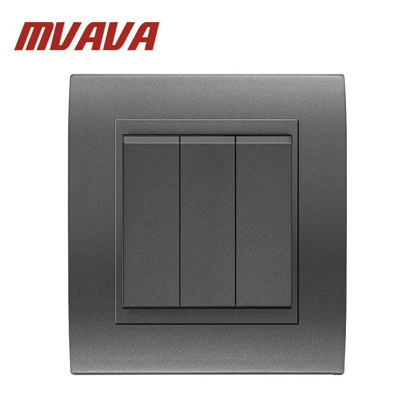 New 3 Gang Electric Wall Switch For Home MVAVA Luxury Black PC panel ...