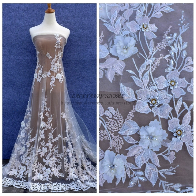 La Belleza Off white/mixed colours 3D flowers rhinestones pearls beaded wedding/evening dress lace 51'' width 1 yard