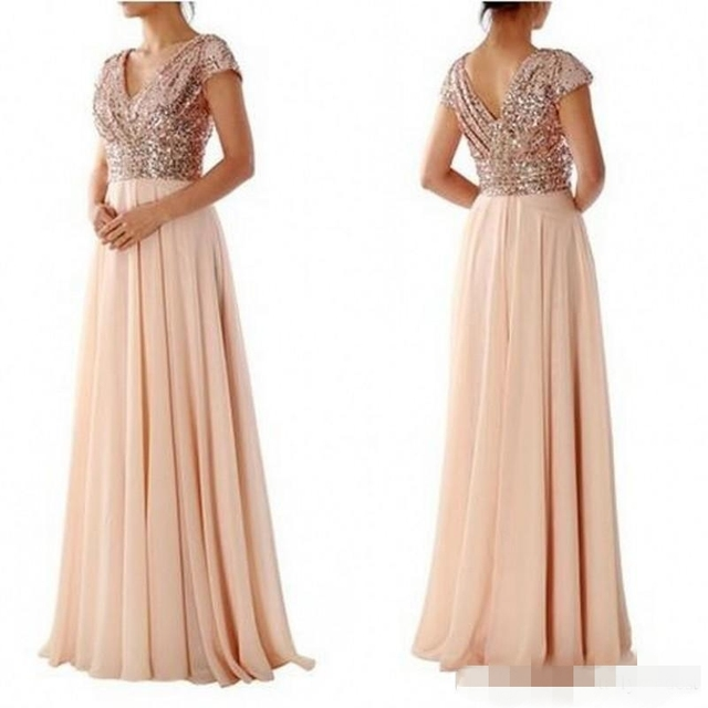 Rose Gold Pailletten Top Lange Modest Brautjungfernkleider Mit Kappe ...