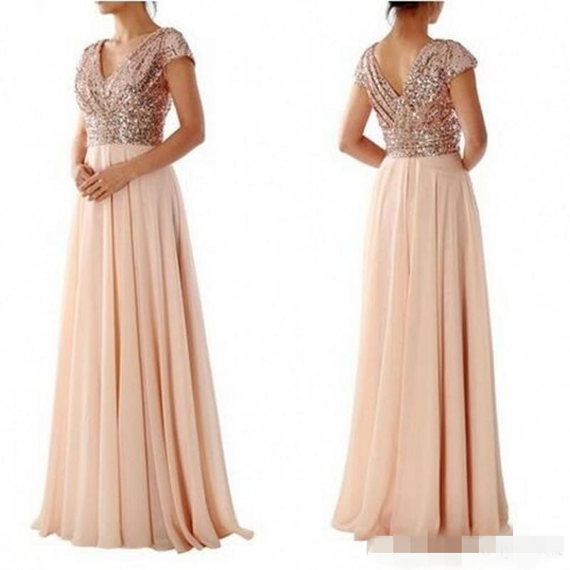 Rose Gold Sequin Top Long Modest   Bridesmaid     Dresses   With Cap Sleeves V Neck 2019 New A-line Floor Length Brides Maid Gowns