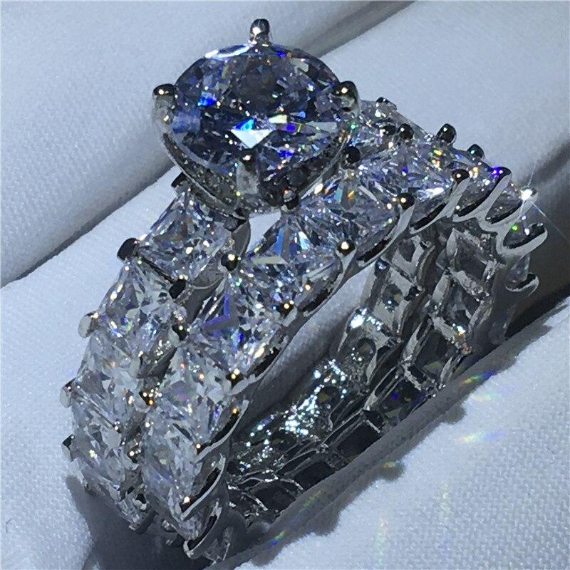 Ручной работы кольца для новобрачных 925 пробы серебро Принцесса cut Sona AAAA фианит Обручение обручальное кольцо кольца для женщин украшения дл