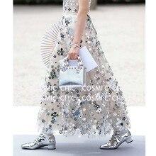 CCCC 2019 รันเวย์ Designer ผู้หญิงสูงเอวตาข่าย Maxi กระโปรงกระจกเซ็กซี่โปร่งใสกระโปรงยาว Haute Couture Falda Mujer