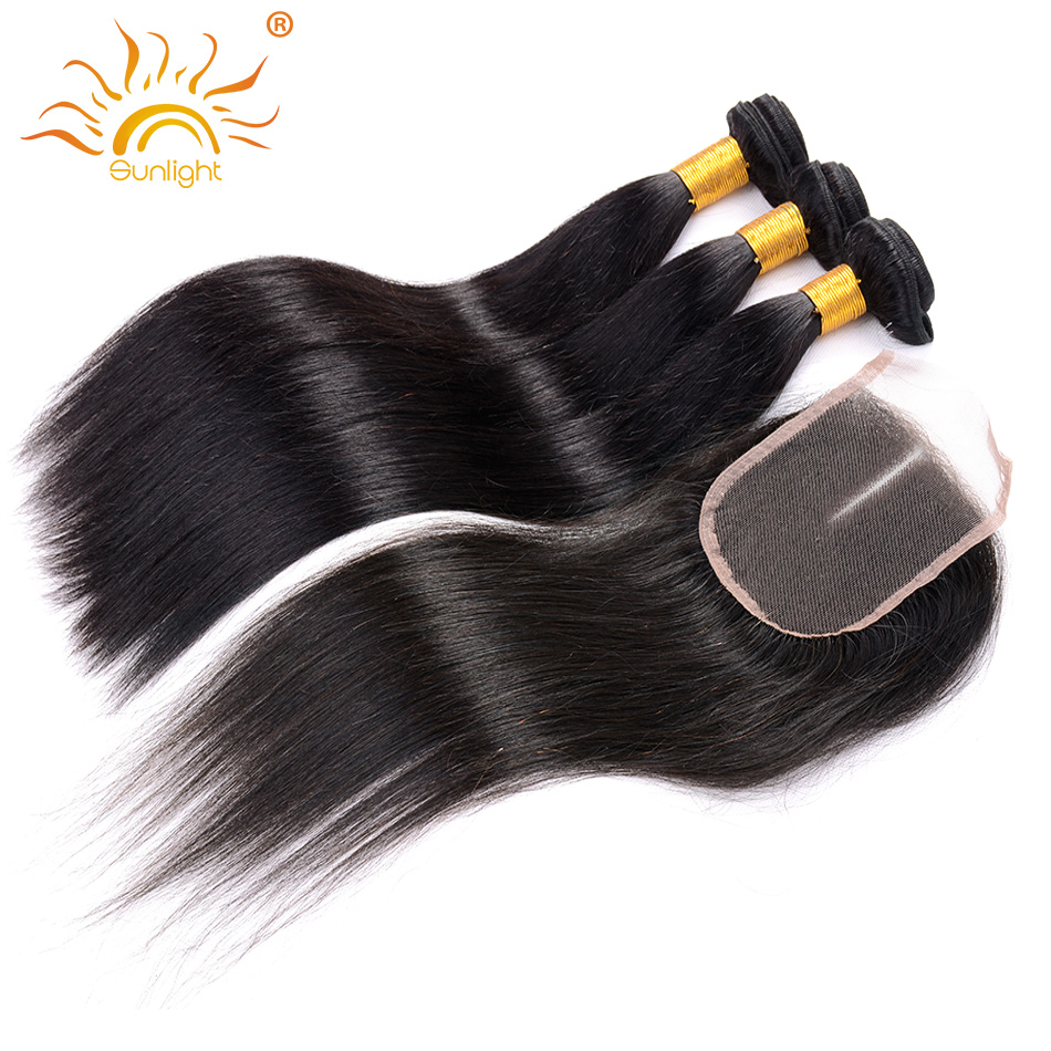 Человеческие волосы 3 Связки с Синтетическое закрытие волос Бразильский прямые волосы средней части Синтетическое закрытие шнурка волос с ...