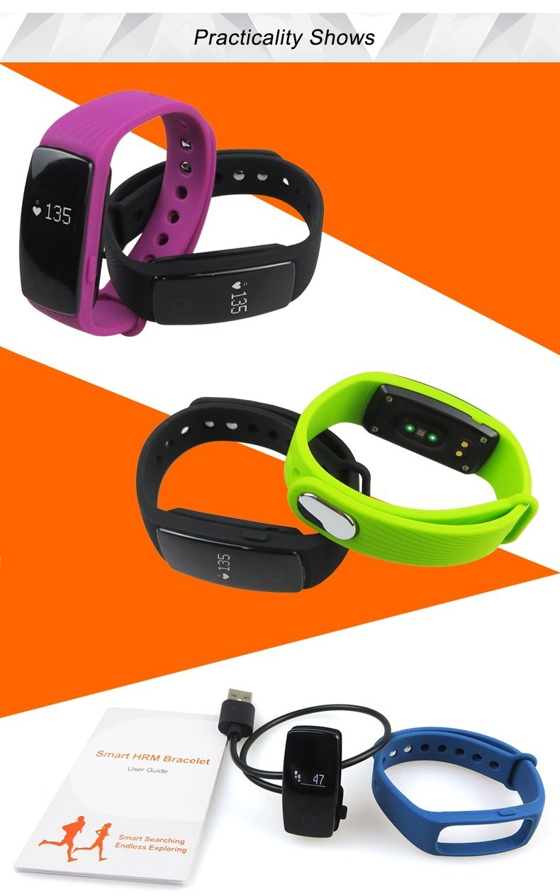 HearthRate Bluetooth Smart band Monitor best Wristband Fitness Tracker Veryfit 2.0 app pk xiaomi mi band cicret bracelet 8