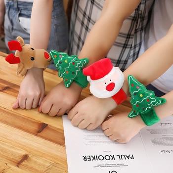 Cute cartoon bracelet Christmas plush toy doll Christmas tree Santa Claus elk doll Children's holiday gift Christmas decoration cartoon elk print christmas tee