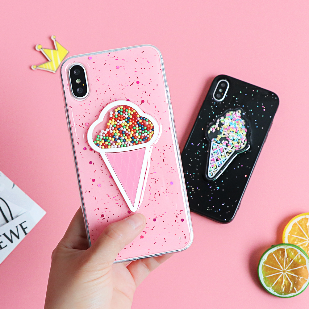 3D Dynamic Pink ice Cream Phone Case for iPhone 6 6S Plus Lovely Liquid Quicksand Cover For iPhone XS Max 7 X XR 10 8 Plus Case