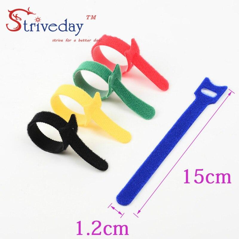 50 pces 5 cores podem escolher fita mágica cablagens/fitas laços de cabo/cabo de gravata de náilon cabo de computador fone de ouvido winder velcroe laços