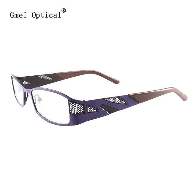 f0171325d33d JiMei Optical Glasses Purple Full-Rim Stainless Steel Prescription  Eyeglasses Frame Spectacle for Eyewear Fashion