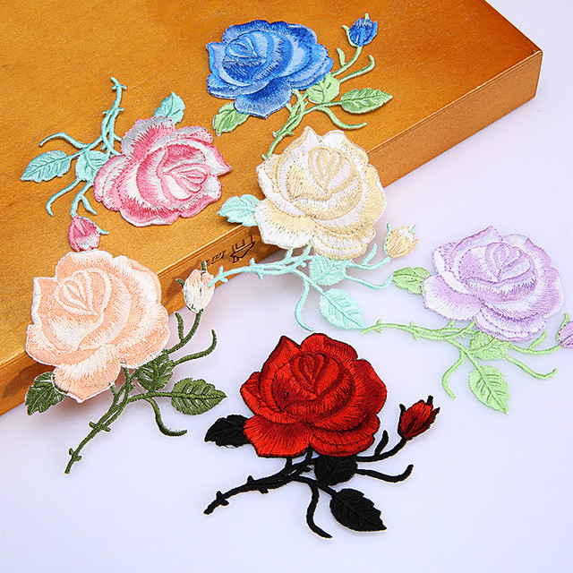 5 Piece/Lot Roses flower iron stick embroidery lace fabric applique lace  patch holes DIY