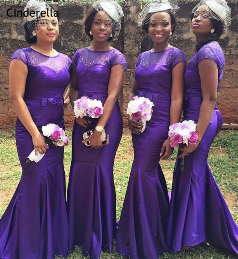 Cinderella African Purple Sheer Neck Crystal Beaded Mermaid   Bridesmaid     Dresses   Trumpet Satin Wedding Party   Bridesmaid     Dresses