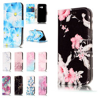 A5 2016 Etui Cases For Samsung Galaxy A5 2017 Coque Cover Granite Marble Texture Pink Wallet