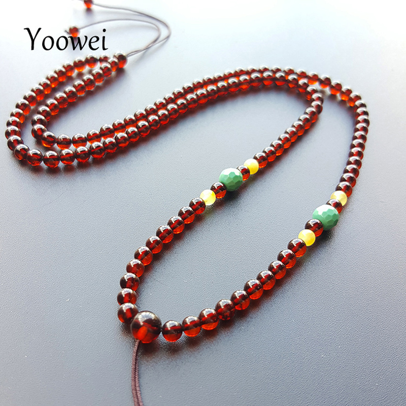 Yoowei 4mm Natural Amber Necklace for Unisex 50cm Adjustable Chain Necklace Birthday Gifts Real Natural Amber Men Women Jewelry yoowei 4mm natural amber bracelet for women small beads no knots multilayered sweater chain necklace genuine long amber jewelry