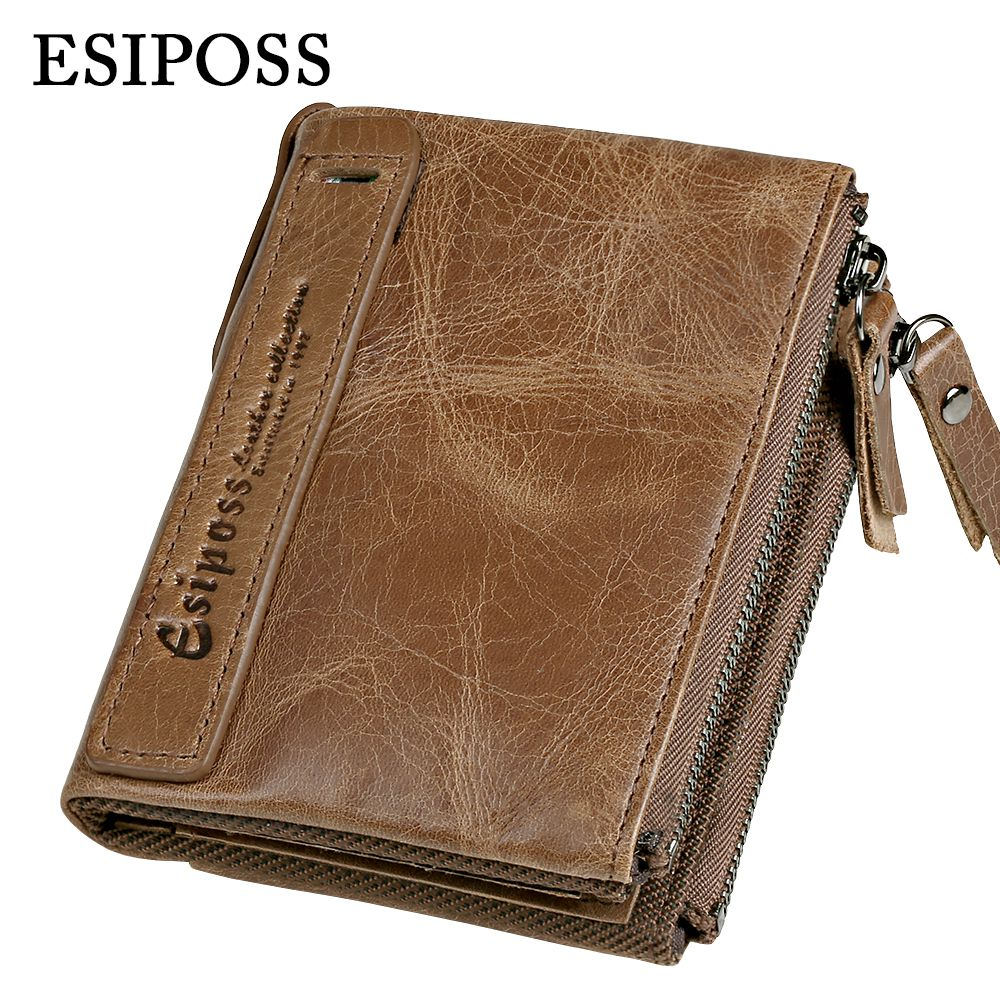 ESIPOSS Genuine Crazy Horse Leather Men Wallet Small Short Vintage Leather Wallet Coin Purse New High Quality Brand Design Walet