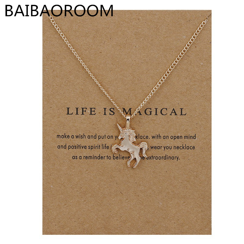 Fashion New Gold-color Life Is Magical Unicorn Horse Alloy Cs