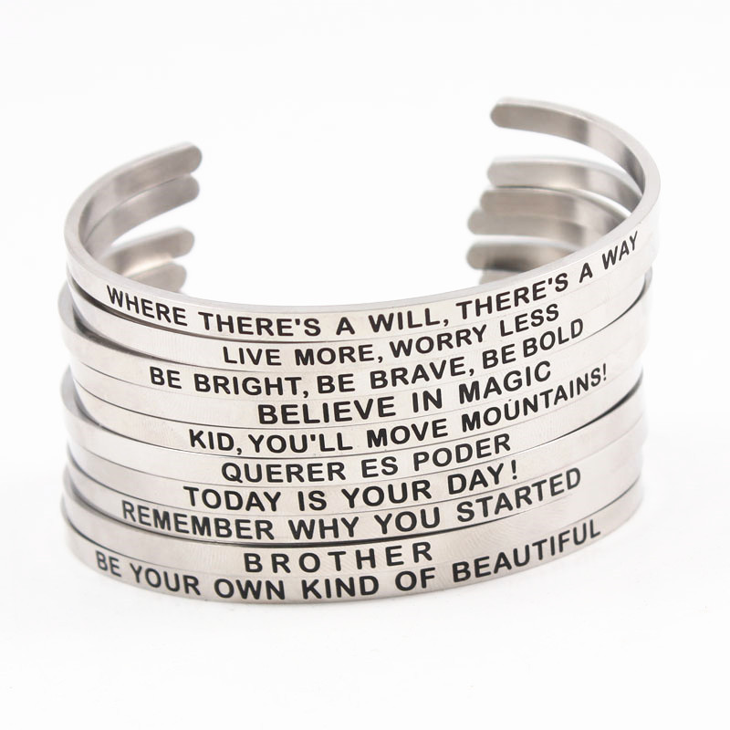 Bangles Shop For Cheap Engraved Letter Stainless Steel Bangles Perfect Quality Quotes Mantra Inspirational Cuff Bracelet For Women Drop Shipping