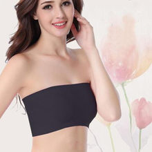 587c9104640f6 Basic Black White Skin Womens Plus Size Strapless UnPadded Bra Bandeau Tube  Tops Removable Pads Seamless