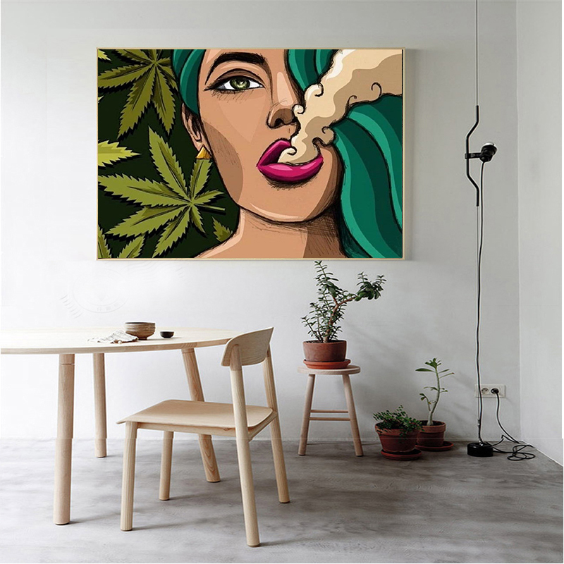 MUTU  Art Girl Smoking Weed Wall Art Picture Canvas Painting Poster Wall Pictures For Living Room  No Frame Drop Shipping