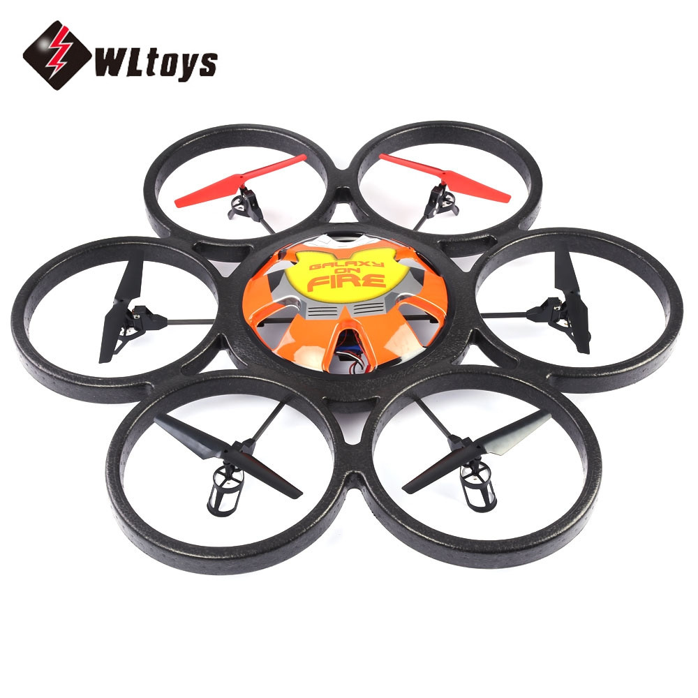 WLtoys RC Quadcopters 2.4G 4CH 6-Axis Gyro 2MP Camera Remote Control Hexacopter with LED Light Flying Saucer Drone Dron Toy RTF