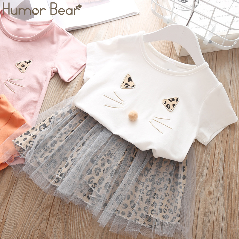 Humor Bear Children Girls Clothing Set 2019 NEW Baby Girl Clothes Dot Cat Tops +Mesh Skirt Toddler Girls Suit Baby Kids ClothesHumor Bear Children Girls Clothing Set 2019 NEW Baby Girl Clothes Dot Cat Tops +Mesh Skirt Toddler Girls Suit Baby Kids Clothes
