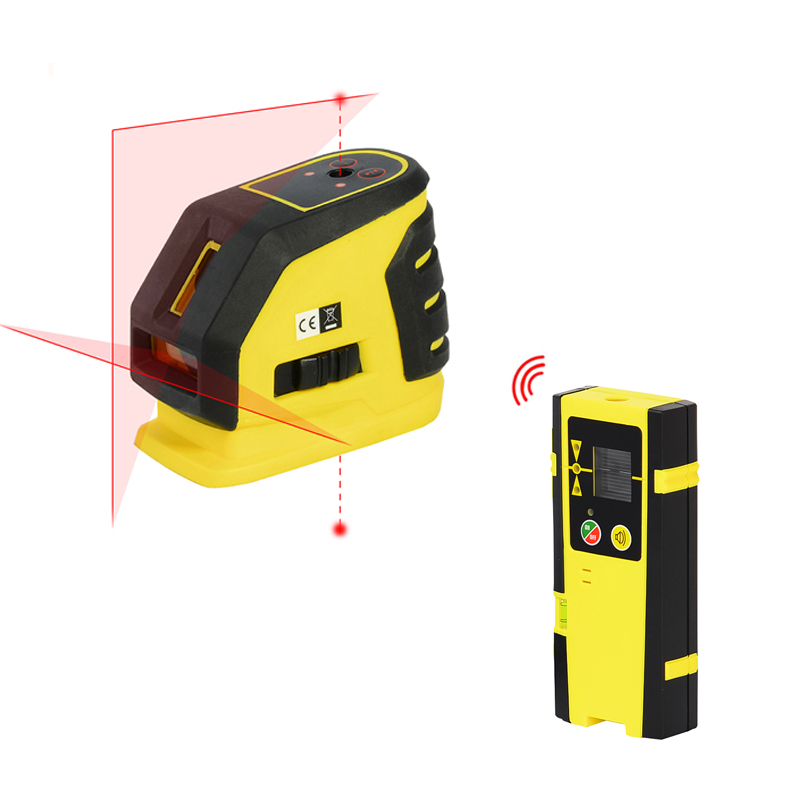 Firecore 118L 2 Lines 2 Points Laser Level Self-leveling Horizontal And Vertical Cross Red Laser Line+Outdoor Receiver firecore a8826d 2 lines laser level 1v1h1d cross self leveling red beam laser 0 28m tripod