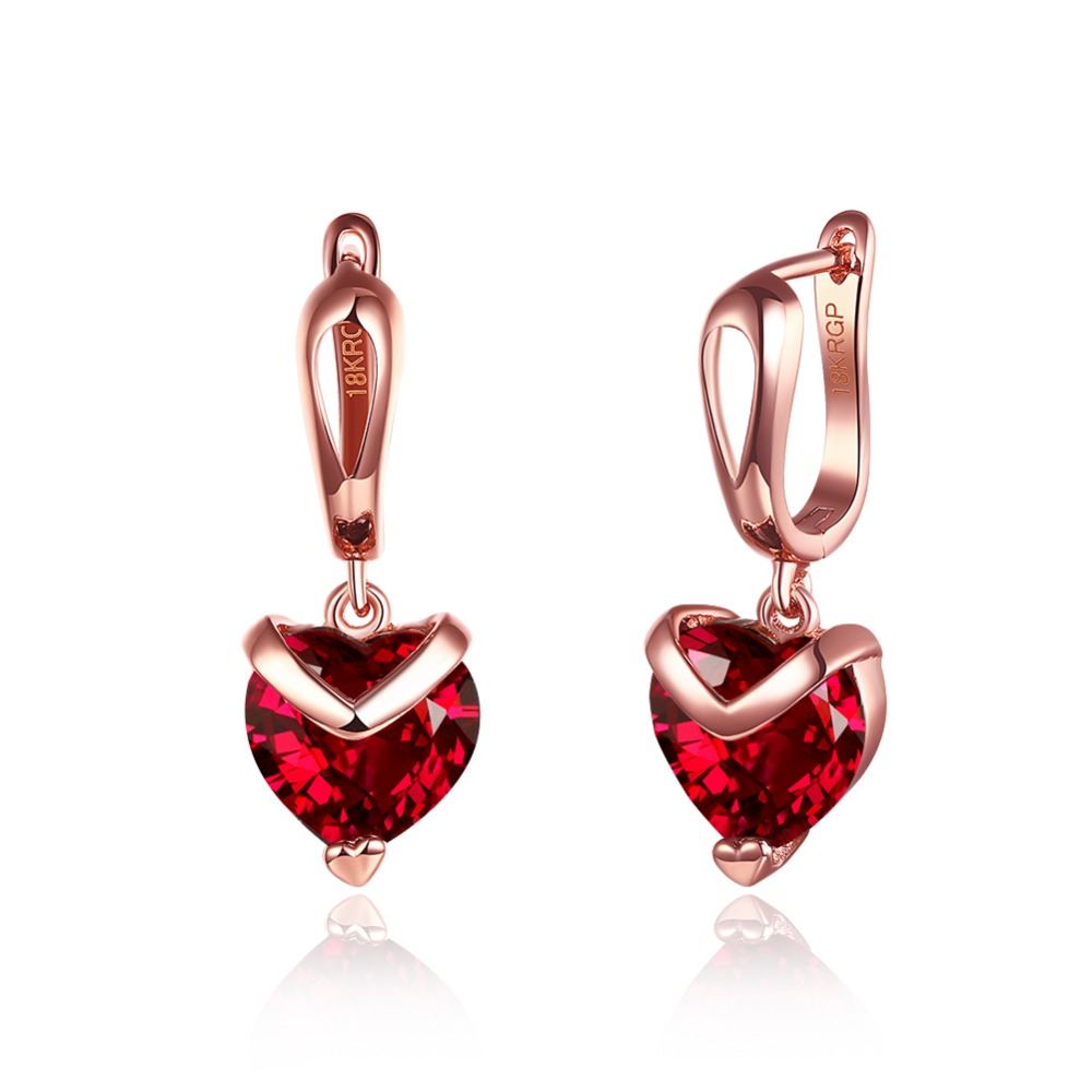 2017 New Arrival Trendy Rose Gold Color Red Zircon Heart Earrings For Women  European Valentine's Day