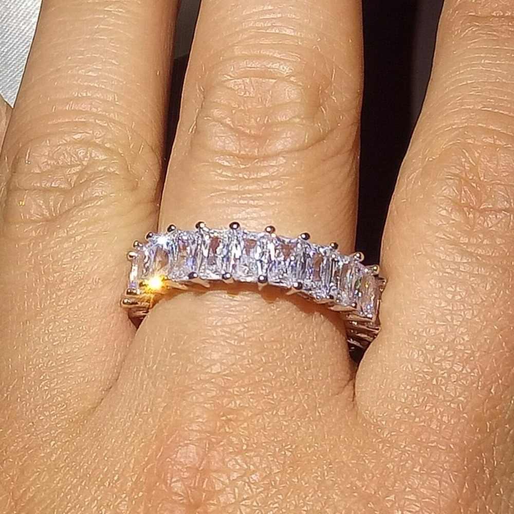 Novo Luxo Chegada 5A Zirconia Praça Cheia de Jóias 925 Sterling Silver Princesa Corte CZ Partido Enternity Anel de Banda De Casamento Das Mulheres