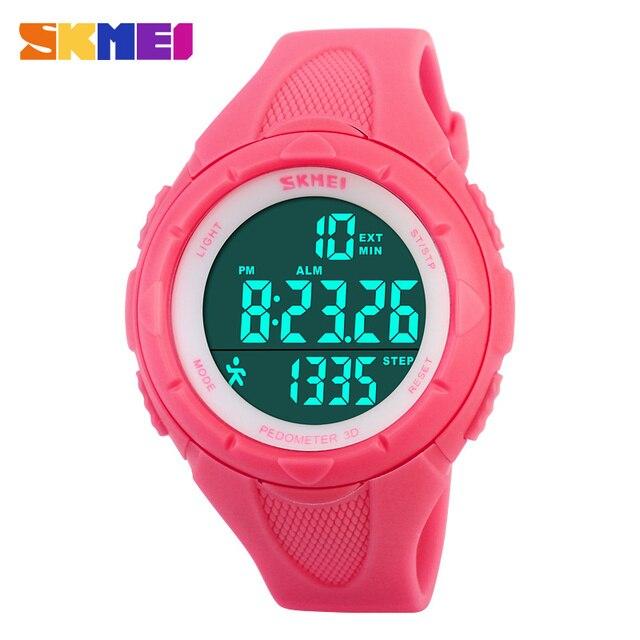 5c51a1fd801a Skmei marca casual deportes Relojes de mujer impermeable podómetro reloj  digital al aire libre llevó reloj