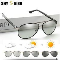 New photosensitive color polarized sunglasses Men's frog mirror Day and night driving color changing glasses